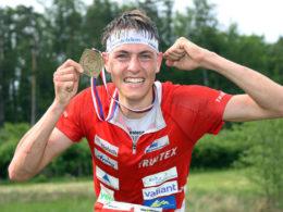 European Champion: Matthias Kyburz (SUI) at EOC 2016 – flower ceremony middle men