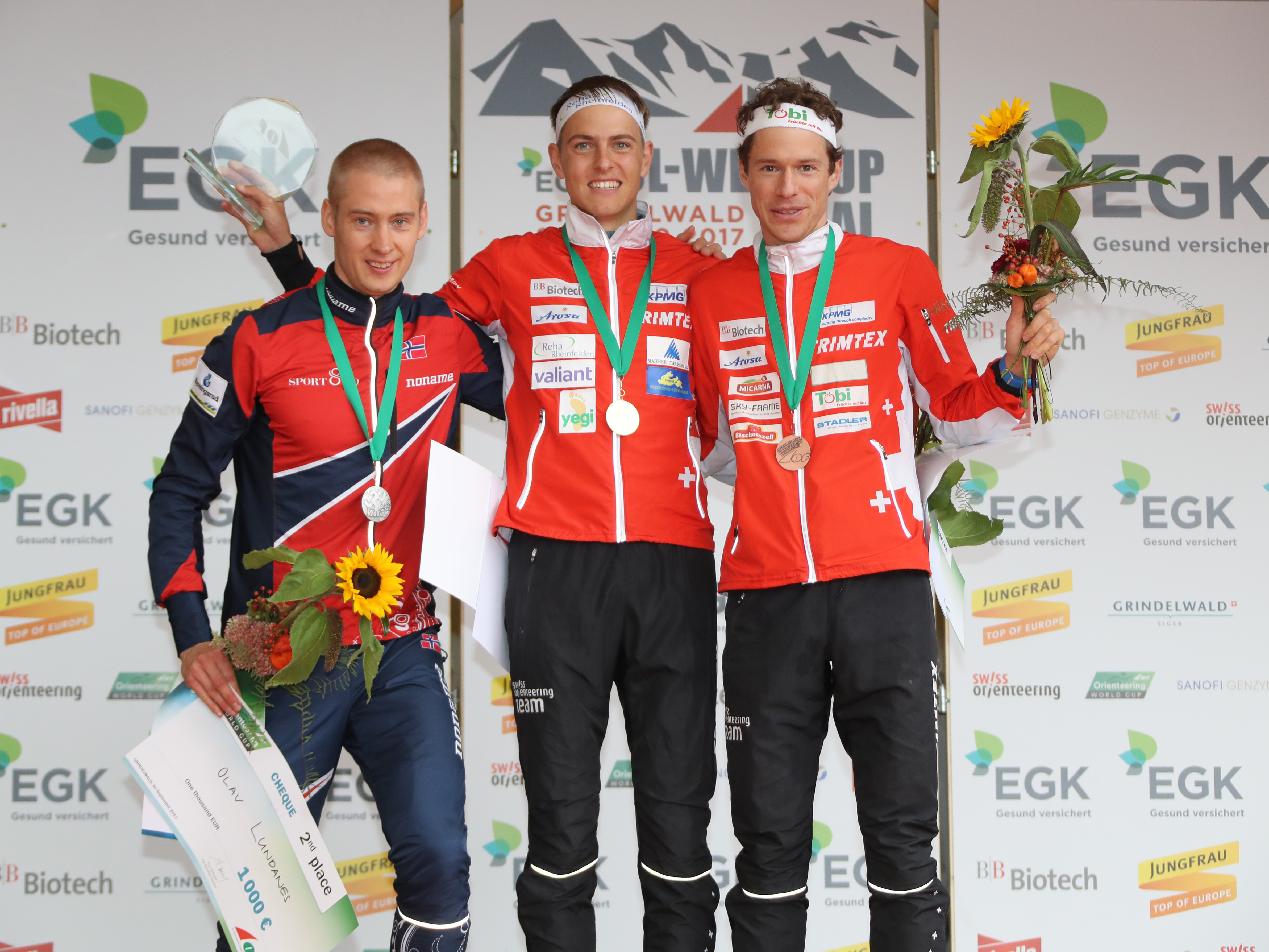 Olav Lundanes (NOR, 2nd), Matthias Kyburz (SUI, 1st) & Daniel Hubmann (SUI, 3rd) over all in the Orienteering World Cup 2017 Men