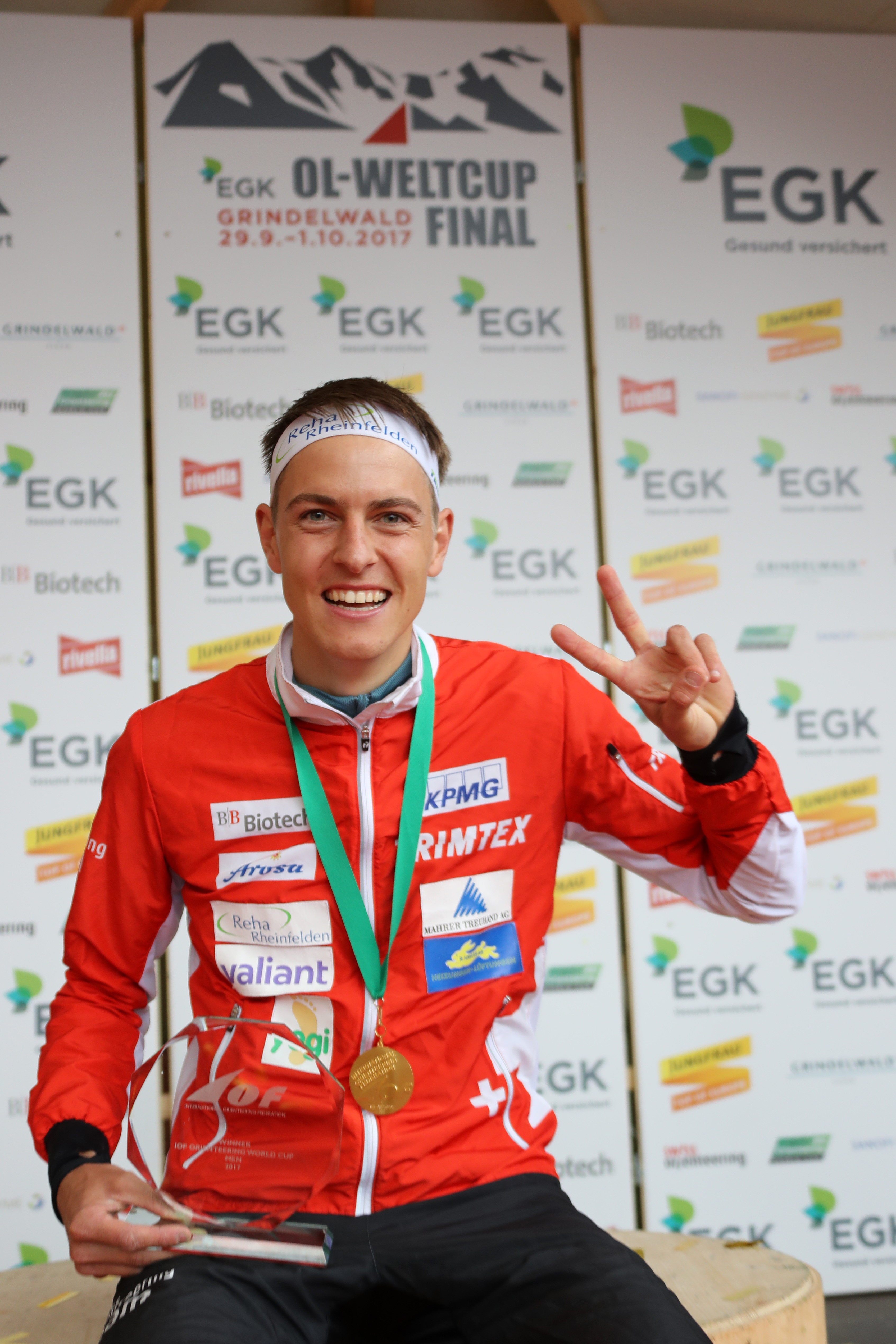 Matthias Kyburz (SUI), Winner over all, captured at the Price Giving Ceremony IOF Orienteering World Cup 2017