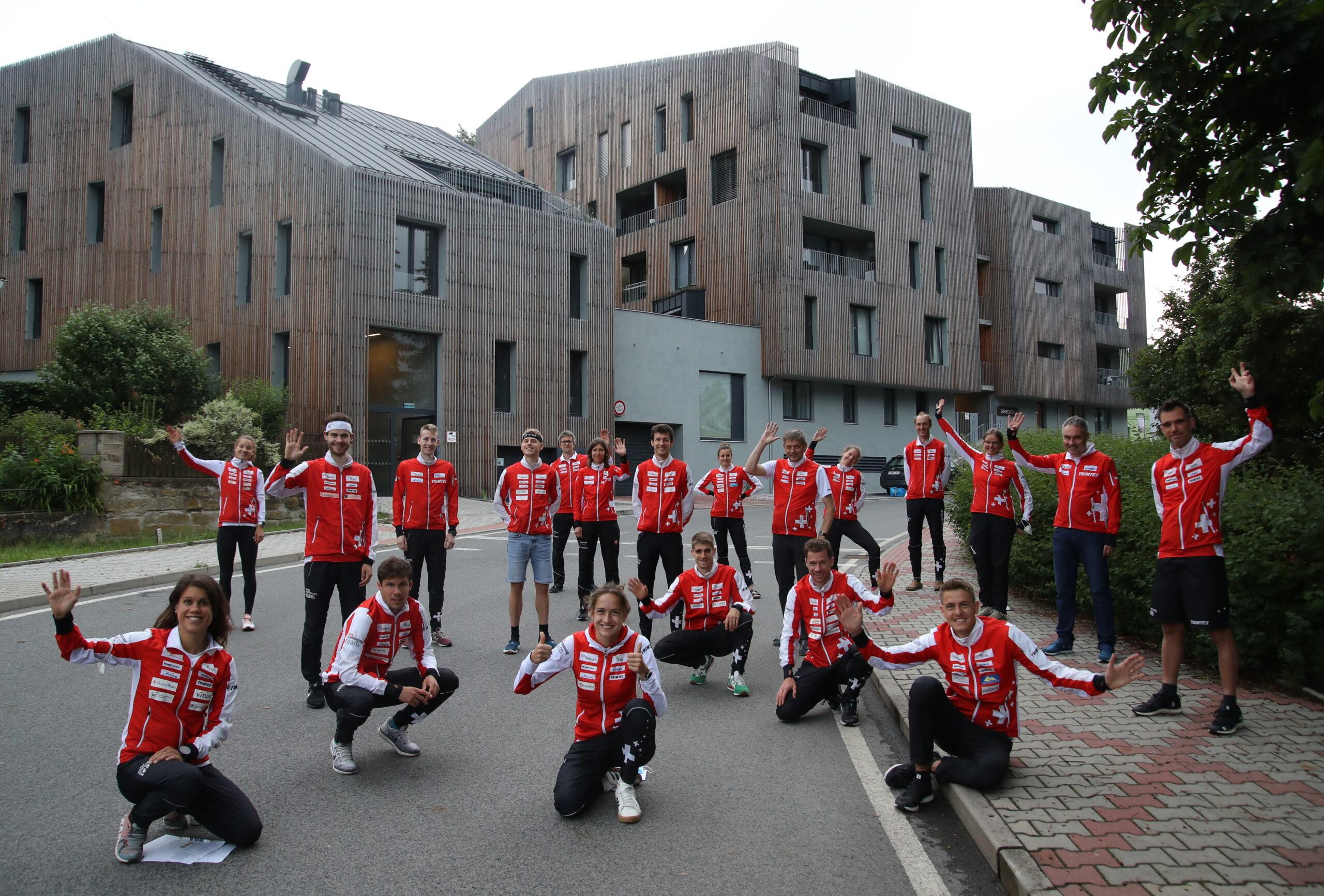 The Swiss Orienteering National Team (in front of Lakepark Residence in Stare Splavy)
