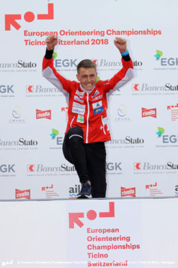 Matthias Kyburz (SUI) European Champion Middle Distance – Medal Ceremony of the Middle distance Final EOC 2018 Ticino Switzerland