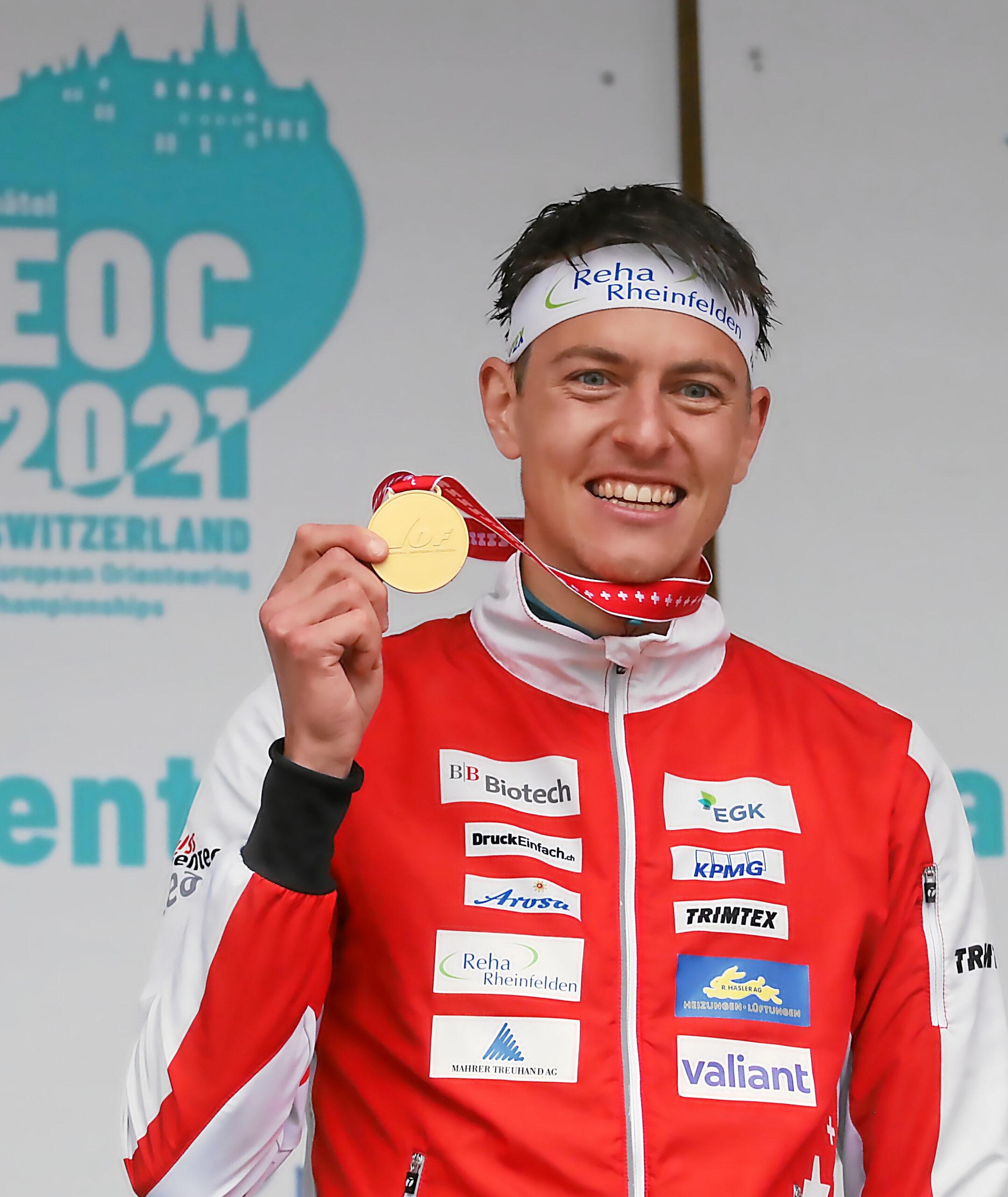 EOC 2021: KO Sprint Finals – Award Ceremonies – European Champion Matthias Kyburz